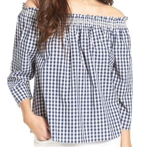 Madewell Off Shoulder Blue Gingham Top XS